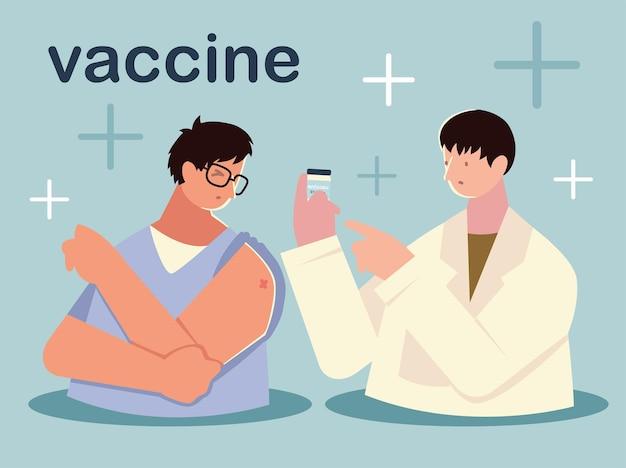 Vacina médico com frasco e ilustração do personagem do paciente