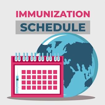 Vacina mundial, cronograma de proteção contra ilustração