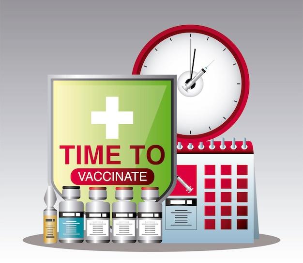 Vacina mundial, hora de vacinar os frascos do cronograma de imunização ilustração do coronavírus