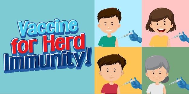 Vacina para imunidade ao rebanho com pessoas recebendo vacinas
