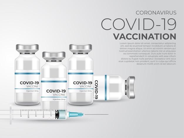 Vacina para o coronavírus. vacinação contra o vírus corona covid-19 com frasco de vacina e injeção de seringa