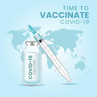 Vacina para o coronavírus. vacinação do vírus corona covid-19 com frasco de vacina e injeção de seringa para tratamento de imunização covid-19.