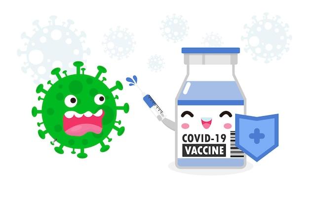 Vacina personagem fofo vacinação luta com coronavírus 2019ncov ataque de gel de álcool covid19 proteção contra vírus e cobiça estilo de vida saudável isolado em vetor de fundo branco