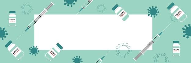 Vacinação contra covid-19. seringas e doses de vacina. banner com espaço em branco para texto.