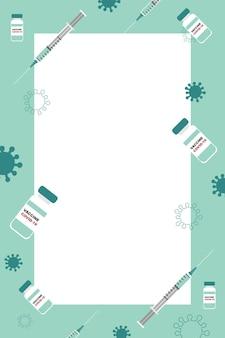 Vacinação contra covid-19. seringas e doses de vacina. banner vertical com espaço em branco para texto.