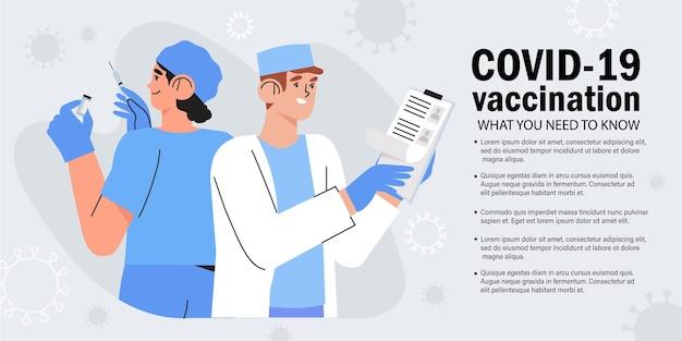 Vacinação contra o coronavírus. médico e enfermeiro.