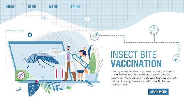 Vacinação contra picada de inseto que oferece serviços on-line
