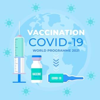 Vacinação covid19 de design plano