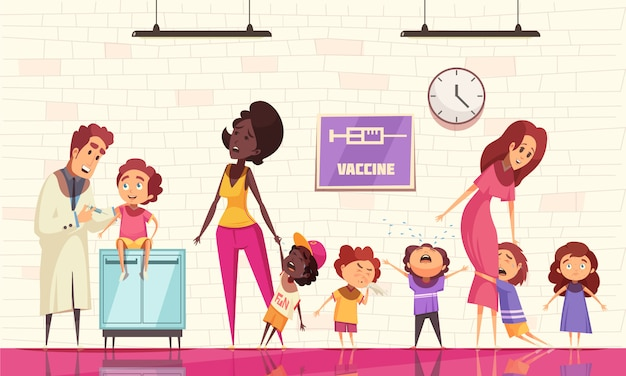 Vacinação de crianças com pediatra segurando a seringa e crianças chorando com medo de injeção de vacina