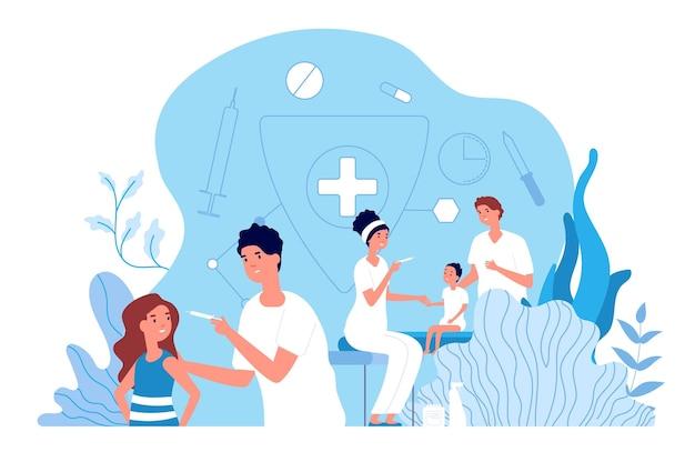 Vacinação de crianças. pediatra, assistência médica para bebês. vacine a poliomielite e a gripe para crianças. conceito de proteção de medicamentos e saúde. vacinação do pediatra, ilustração da área de saúde do médico