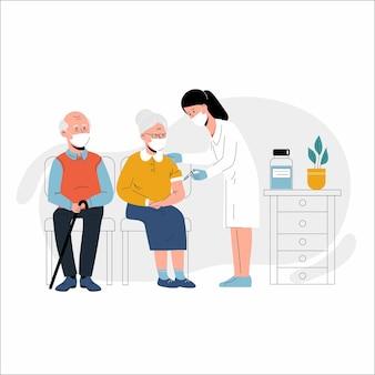 Vacinação de idosos contra coronavírus ilustração de uma mulher idosa vacinada