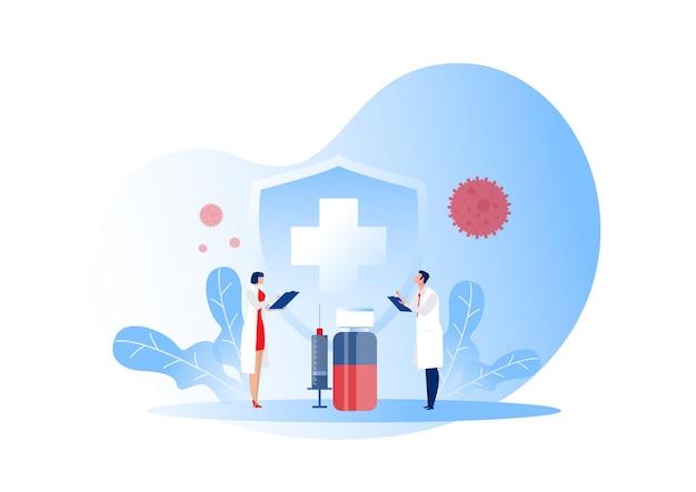 Vacinação de pesquisa médica contra infecção viral por covid-19.