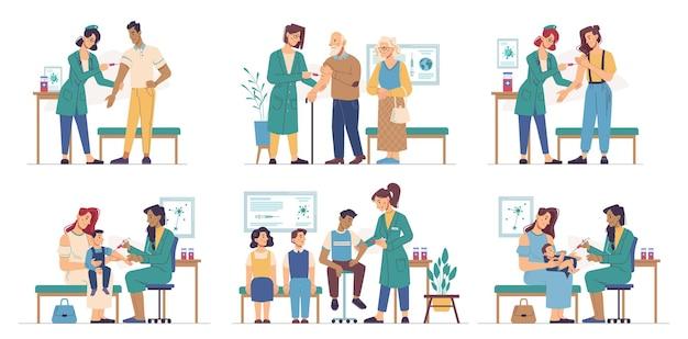 Vacinação de pessoas com injeção de vacina contra o coronavírus, vacinação ou prevenção