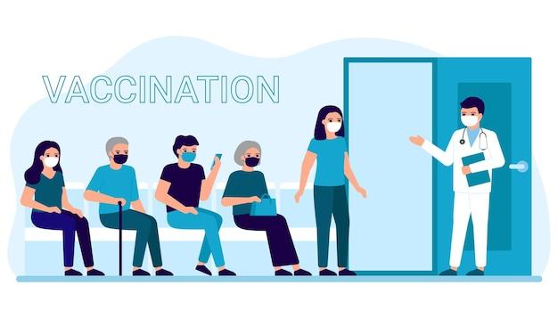 Vacinação de pessoas em clínica para prevenção, imunização e tratamento contra infecção viral