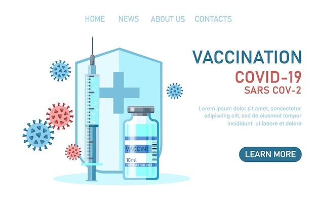 Vacinação de vírus corona covid19 com ferramenta de injeção de seringa de proteção de frasco de vacina