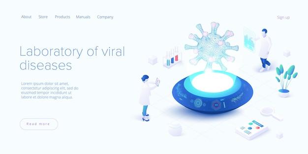 Vacinação de vírus em desenho isométrico. laboratório de gripe ou coronavírus. laboratório médico covid ou pesquisa de vacina antivírus.