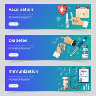 Vacinação, diabetes, banners horizontais de imunização com seringa de ícones planos, medidor de glicose no sangue, seringa de caneta de insulina, frasco de vacina, frasco de insulina. ilustração vetorial