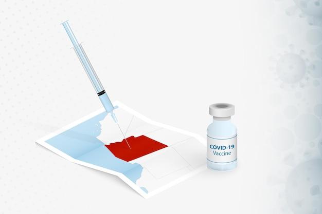 Vacinação do arizona, injeção com a vacina covid-19 no mapa do arizona.