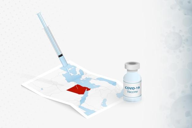 Vacinação do egito, injeção com a vacina covid-19 no mapa do egito. Vetor Premium