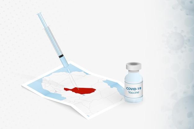 Vacinação do níger, injeção com a vacina covid-19 no mapa do níger.