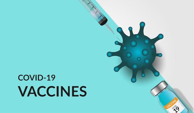 Vacinação do vírus corona covid-19 com frasco de vacina e ferramenta de injeção de seringa para tratamento de imunização covid19.