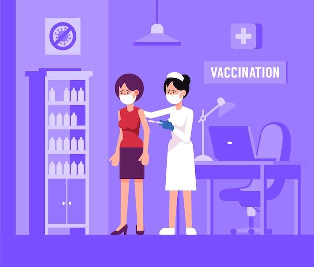 Vacinação em massa em clínica médica