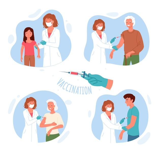 Vacinação. enfermeira de desenho animado ou personagem médico segurando uma seringa, aplicando injeção antiviral com medicamento de vacina em crianças, idosos ou jovens para imunidade
