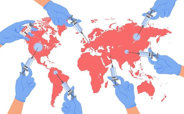 Vacinação global da proteção da medicina do planeta terra do conceito de coronavírus. médico de desenho animado com luvas médicas segurando uma seringa de injeção de vacina e um mapa-múndi
