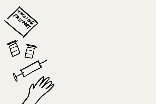 Vacinação mão desenhada vetor, conceito de saúde
