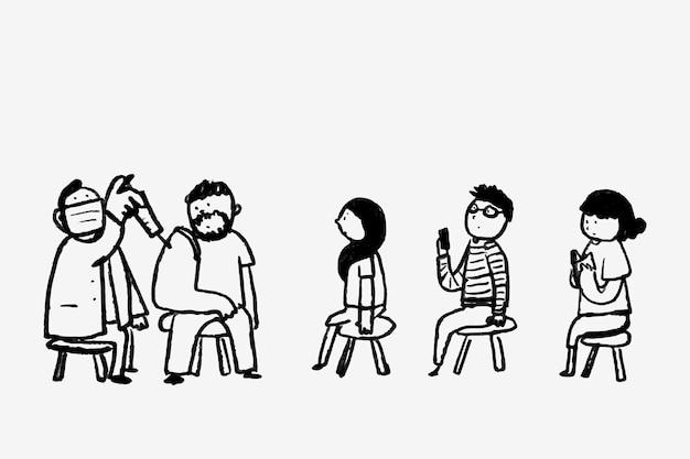 Vacinação mão desenhada vetor pessoas recebendo personagem vacinado