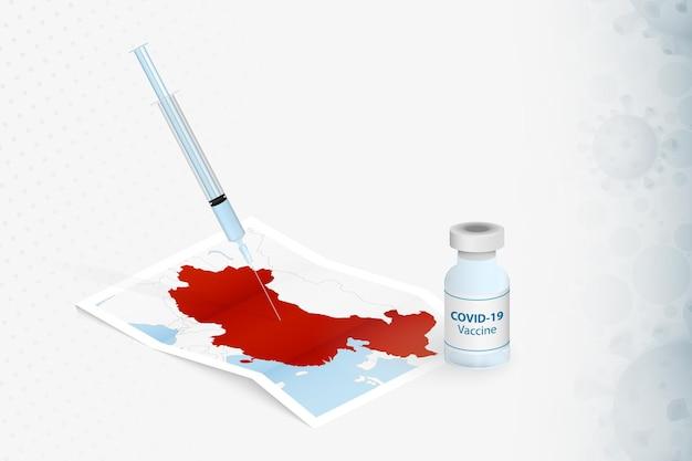 Vacinação na china, injeção com a vacina covid-19 no mapa da china.