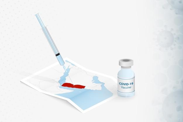 Vacinação no iêmen, injeção com a vacina covid-19 no mapa do iêmen.
