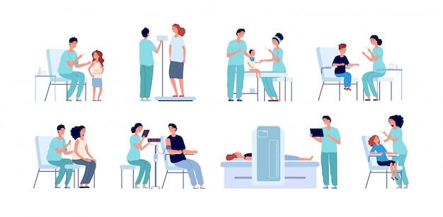 Vacinação. pediatra crianças vacina. jovem médico, check-up médico criança doente. conjunto de adultos e crianças de injeção anti gripe