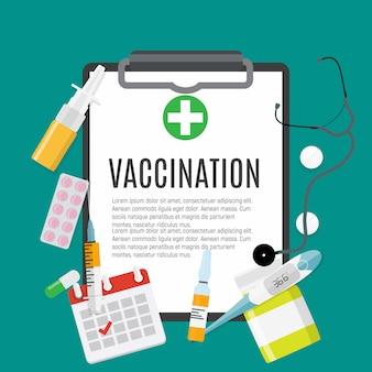 Vacinação plana. gripe de conscientização médica, cartaz de gripe de poliomielite.