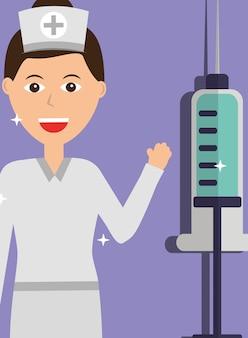 Vacinação profissional de enfermeira e seringa