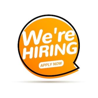 Vaga de emprego, estamos contratando agora. conceito de funcionário de recrutamento de equipe de rh. oferta de entrevista de emprego de carreira