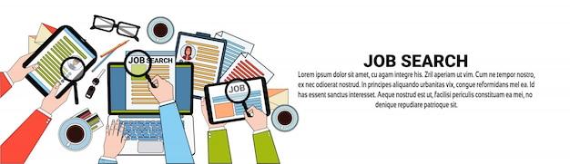 Vaga de emprego hr search web banner template conceito de posição de candidato de negócios
