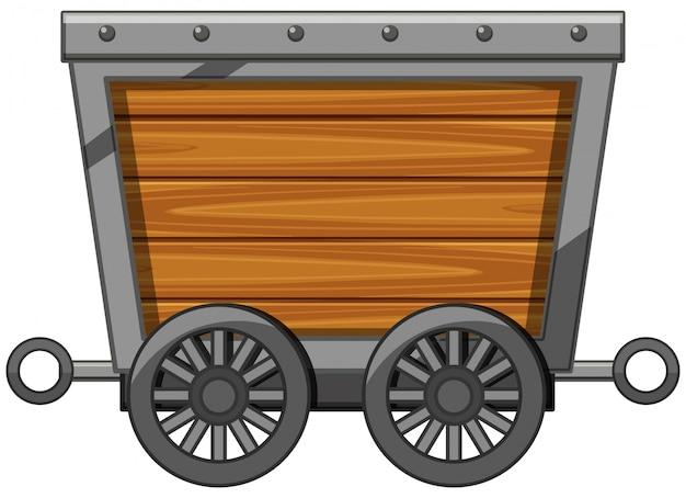 Vagão de madeira com rodas de metal