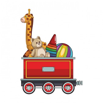 Vagão de trem com brinquedos