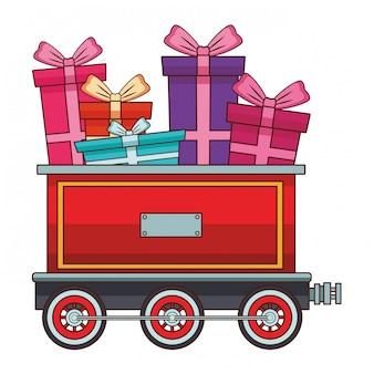 Vagão de trem com caixas de presente