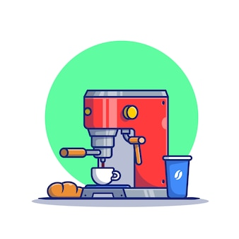 Vagem de máquina de café, pão, caneca e ilustração do ícone dos desenhos animados do copo. máquina de café ícone conceito premium. estilo desenho animado