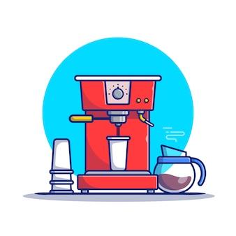 Vagem de máquina de café, xícara e ilustração de ícone dos desenhos animados de cafeteira. conceito de ícone de máquina de café isolado premium. estilo flat cartoon