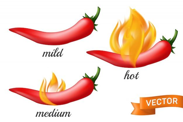 Vagem natural de pimenta vermelha em chamas de fogo com níveis de especiarias diferentes suaves, médios e quentes.