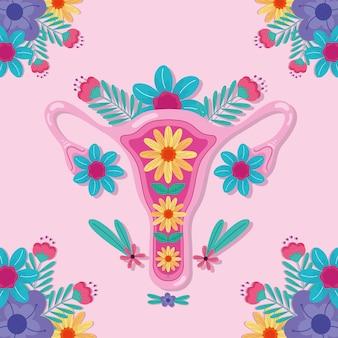 Vagina com ilustração de flores