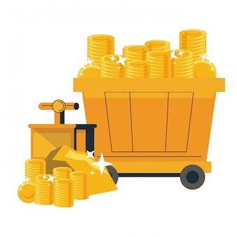 Vagões de mineração com moedas de ouro
