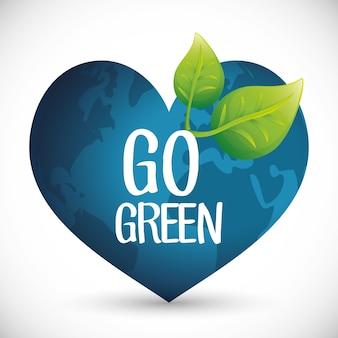 Vai o conceito verde da ecologia do globo do coração