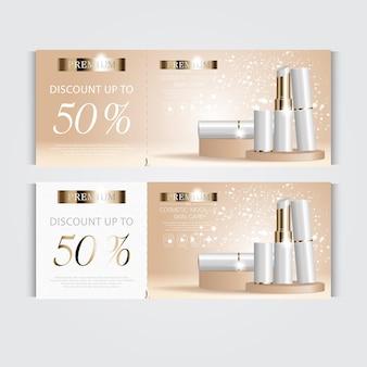 Vale-presente batom hidratante facial para venda anual ou venda em festival de batom branco e dourado