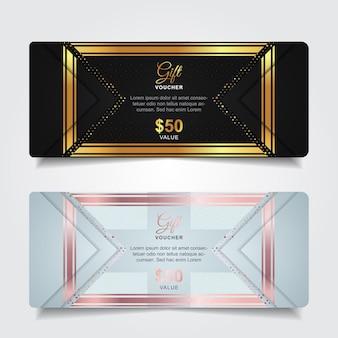 Vale-presente de luxo com decoração com elementos de ouro