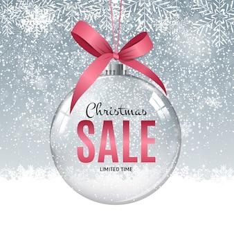 Vale-presente de venda de natal e ano novo, vetor de cupom de desconto