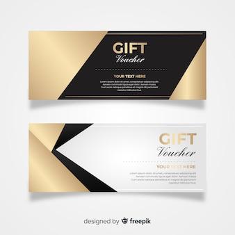 Vale-presente elegante com estilo dourado